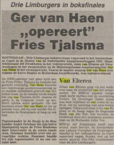 Ger van Haen Nederlandse Kampioenschappen 30-03-1981 tekst