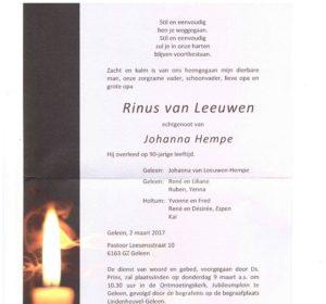 advertentie Rinus van Leeuwen